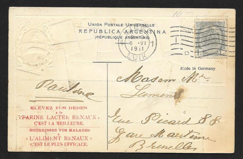 ARGENTINA Stamps on Postcard Embossed Shield Used c1911
