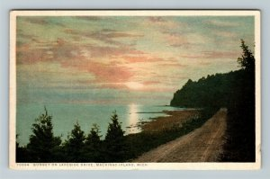 Mackinac Island MI-Michigan, Sunset On Lakeside Drive, Vintage c1937 Postcard