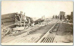 Vintage RPPC Real Photo Postcard TRAIN WRECK SCENE Rail Cars Damage 1910s Unused