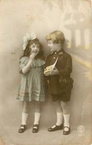 Children Share Box of Candy~Colorized Real Photo Postcard~1923 France