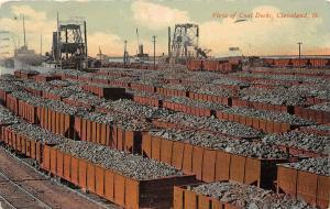 F26/ Cleveland Ohio Postcard 1911 View Coal Docks Railroad Loaders
