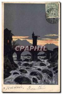 Old Postcard Against Light Bridge