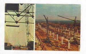Shipping pier cranes, Moscow, Russia, 1973