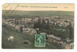 Panoramic of Town / Panorama de la Vallee Nort Ouest,Evreux,France 1913 PU