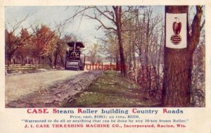 CASE STEAM ROLLER BUILDING COUNTRY ROADS J. I. CASE THRESHING MACHINE CO Old Abe