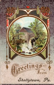 Pennsylvania Greetings From Shellytown With Water Mill Embossed
