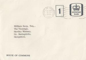 London House Of Commons Prime Minister Home 1971 Official Envelope