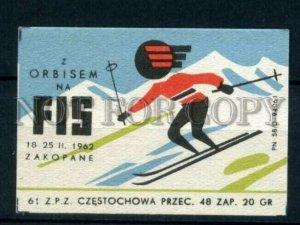 500811 POLAND FIS Ski ADVERTISNG Vintage match label