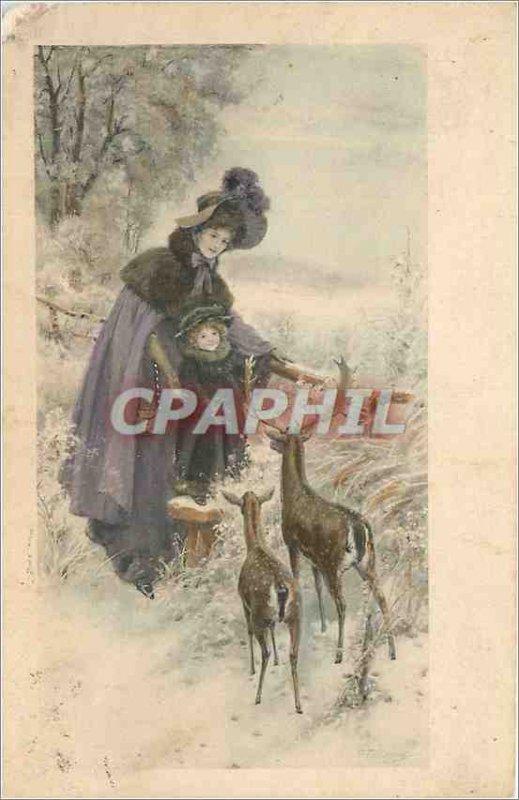 Postcard Old Woman Biches