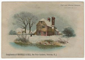 Paterson, NJ, MARSHALL & BALL, Clothiers Trade Card. A Country Mill in Winter
