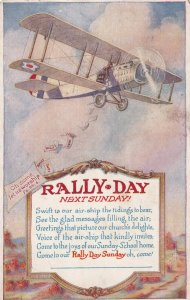 RALLY DAY SUNDAY, PU-1919; Bi-plane throwing flyers, Poem