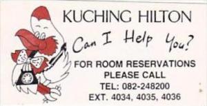 MALAYSIA SARAWAK KUCHING HILTON HOTEL VINTAGE LUGGAGE LABEL