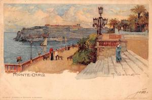 Monte Carlo Monaco scenic view promenade boats visitors antique pc Y15846
