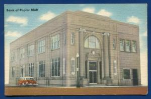 Bank of Poplar Bluff Missouri mo linen postcard