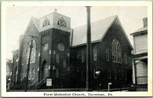 Tarentum, Pennsylvania Postcard First Methodist Church Street View c1940s