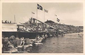 Varberg Switzerland Swimming Pier Real Photo Antique Postcard K10982