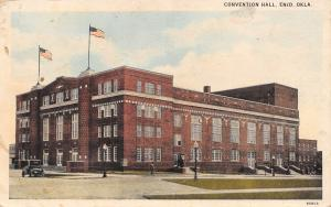 Enid Oklahoma~Convention Hall~Men Going in Side Doors~1920s Postcard
