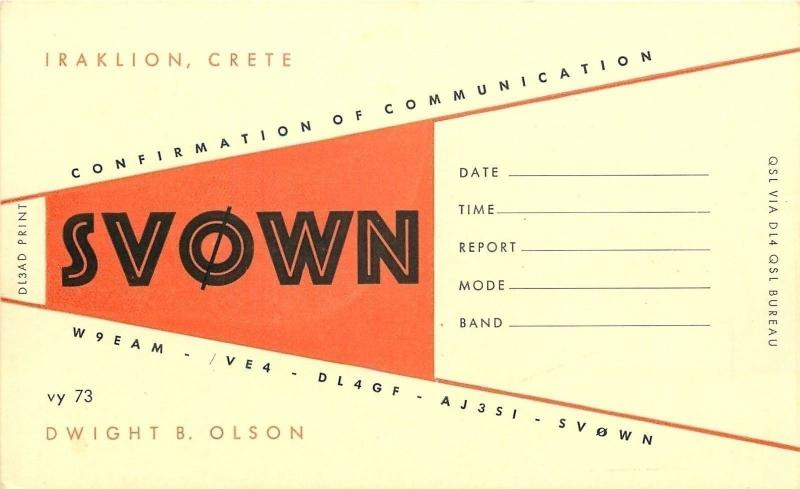 Iraklion, Crete Greece~QSL Dwight Olson to Lars, Chief Ear of St Angesby, Sweden