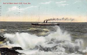 York Maine~Bald Head Cliff Surf~Steamer on Ocean~Ship~1910 Postcard