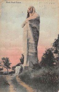 Black Hawk Statue 1929 light postal marking on front