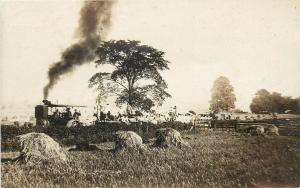 1907-1918 Real Photo Postcard Steam Tractor Pulls Cars full of People by Fields
