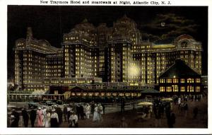 New Jersey Atlantic City Hotel Traymore and Boardwalk At Night