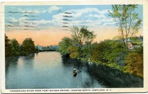 Canoe on Tioughnioga River Near Port Watson Bridge Cortland NY New York pm 1923