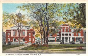 Lebanon New Hampshire~Town Hall~Hotel Rogers~1920s Postcard