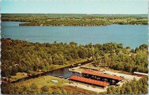 McPhee Bay Harbour Marina Lake Simcoe Ontario ON Birdseye Vintage Postcard F85