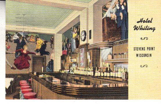 Hotel Whiting - Stevens Point Wi. Bar w/Murals 1950