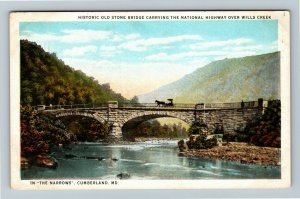 Cumberland MD-Maryland, National Highway Over Wills Creek, Vintage Postcard