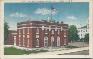 Post Office & Court House, Thomasville, GA,, Early Linen Postcard, Unused