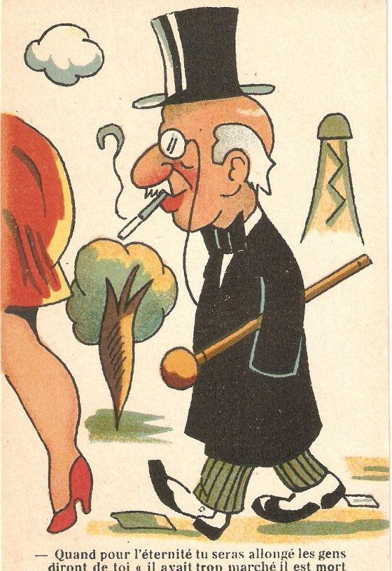 Old man following woman  Humorous antique French Postcard