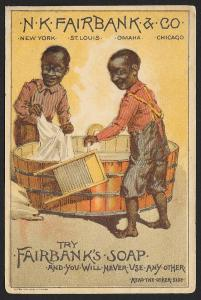 VICTORIAN TRADE CARD Fairbanks Soap Fairbanks Twins Doing Laundry in Wash Bucket