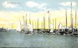 Scene at the Inlet NJ, New Jersey - Sailboats - Perhaps Atlantic City - DB