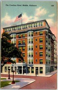 Mobile, Alabama Postcard THE CAWTHON HOTEL Street View Linen c1940s Unused