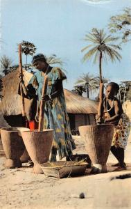 Africa Dakar Pileuse de Mil Grinding Grain Tinted Real Photo Postcard J67790