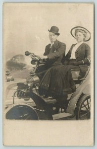Chicago White City~Squeeze Horn~Steering Wheel~Couple in 40s~Studio Prop~RPPC