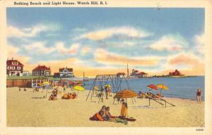 Watch Hill Rhode Island Bathing Beach Light House Antique Postcard K103895
