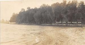 Grawn Michigan~Silver Lake Scene~Sandy Beach~Logs along Shoreline~c1910 RPPC