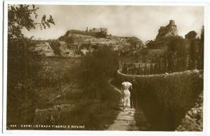 Italy, Capri, Strada Tiberio e Rovine, unused real photo