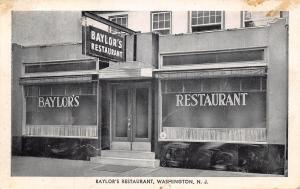 Washington New Jersey~Baylor's Restaurant~Home Made Pies~1954 B&W Postcard