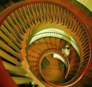 Pleasant HilL KY Trustee's Office Spiral Staircase UNP Vtg Chrome Postcard