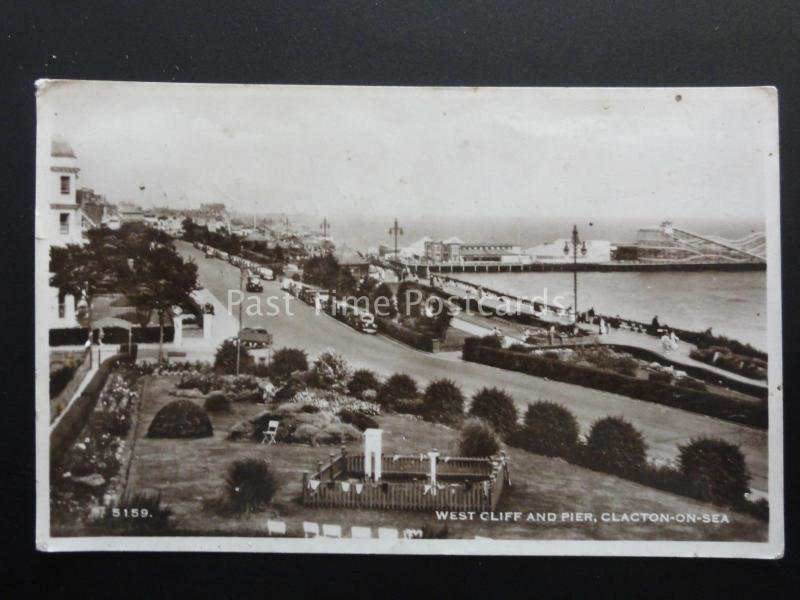 Essex CLACTON ON SEA West Cliff & Pier shows ROLLER COASTER Old RP by H. Coates