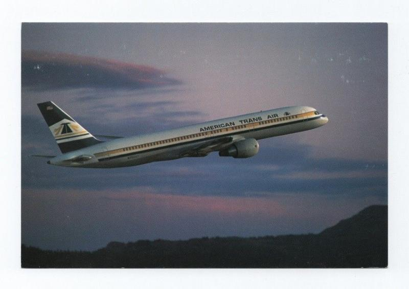 POSTCARD AIRLINE ISSUED 1980s AMERICAN TRANS AIR AIRPLANE BOEING 757 AIRCRAFT
