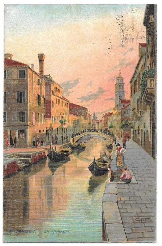Italy Venice 1908 Rio Girardini Gondola Signed Menegazzi