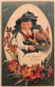 Easter Greetings Boy in Egg Chicken and Chicks Flowers PFB Postcard J72251