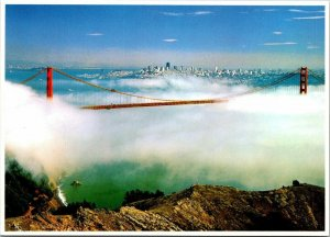 Vintage Postcard San Francisco Bay Bridge Fog City Skyline 1983 Unposted