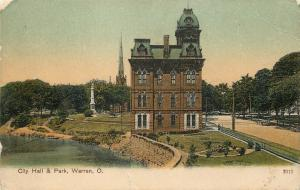 Warren OH~Triple Mansard Roof on City Hall~Destroyed by Fire in 1916~c1905 PC