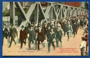 Germany World War I German Mobilization Reservists Berlin railroad postcard
